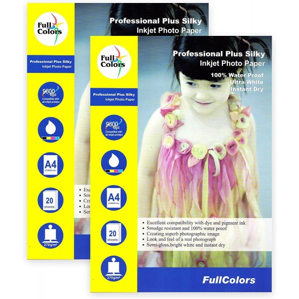 Full Colors Professional Plus Silky Photo Paper A4 270 GSM (Satin) (Pack of 2)