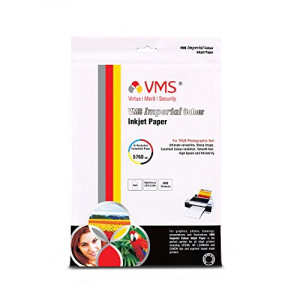 VMS Imperial 210 GSM 4R Glossy Photo Paper - 400 Sheets