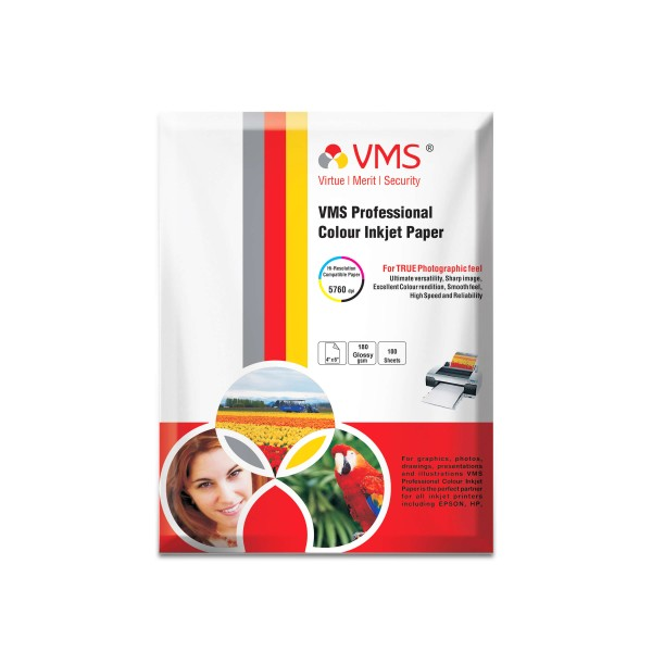 VMS Professional 180 GSM 4R Glossy Photo Paper
