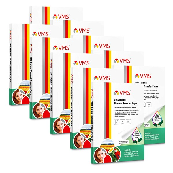 VMS Deluxe Heat Transfer Paper (Sublimation Paper) A4 110 GSM (10 x 100 Sheets)