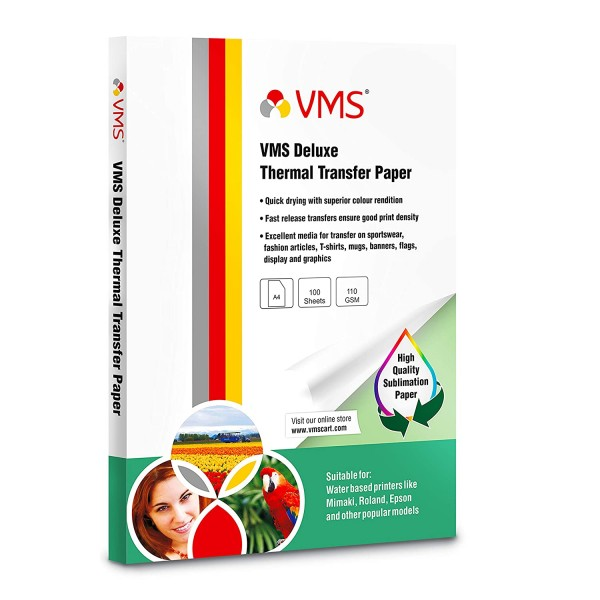VMS Deluxe Heat Transfer Paper (Sublimation Paper) A4 110 GSM (100 Sheets)