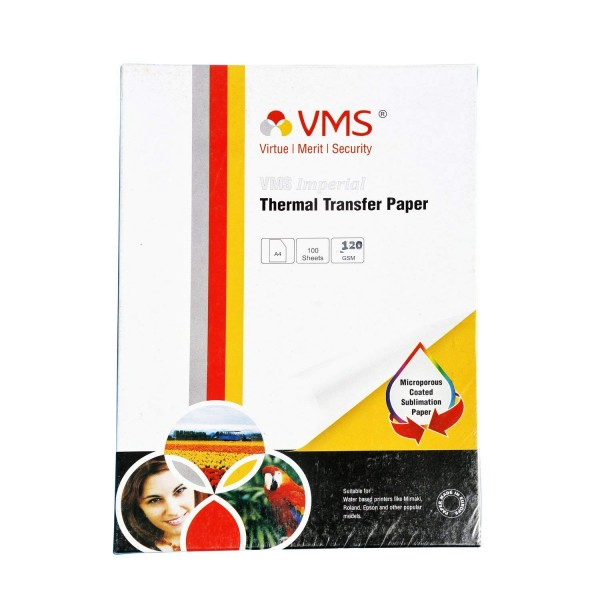 VMS Imperial Heat Transfer Paper (Sublimation Paper) A4 120 GSM (100 Sheets)