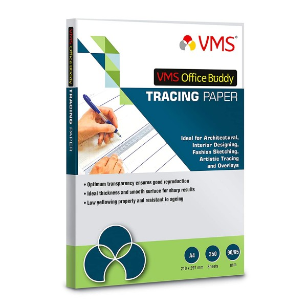 VMS Office Buddy 90/95 gsm A4 Tracing Paper (Pack of 1, 250 Sheets)