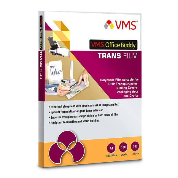 VMS Office Buddy A4 OHP Sheets (Trans Film) 100 Micron (100 Sheets)