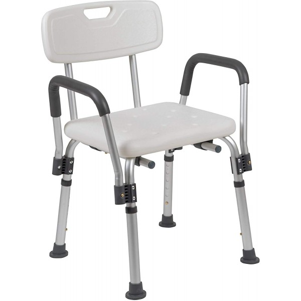VMS Careline Shower Chair, Adjustable Height from 16 to 21 inch with Durable Detachable Aluminum Legs & Handrest for Elderly, Senior, Handicap and Disabled