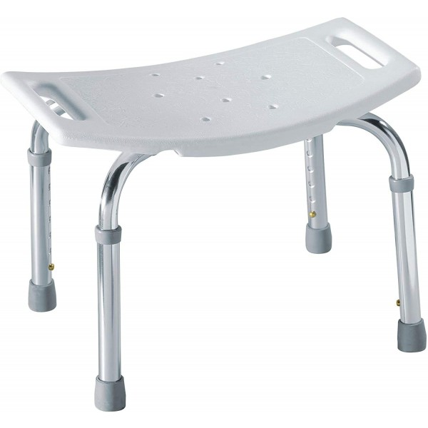 VMS Careline Shower Seat, Adjustable Height from 42 CM to 53 CM with Durable Detachable Aluminum Legs for Elderly, Senior, Handicap and Disabled, Perfect for Bathtub